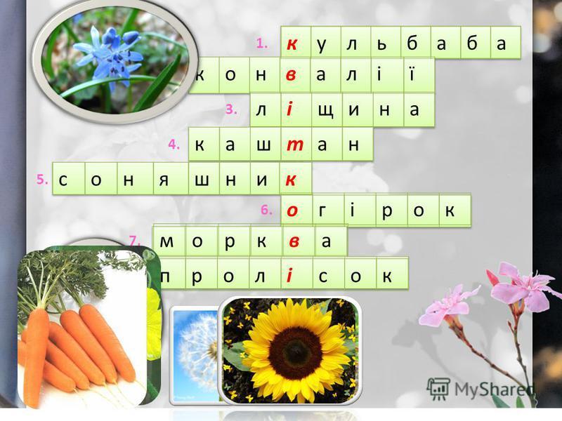 1.1. 2. 3. 4. 5. 6. 7. 8. кульбаба конвалії ліщина каштан соняшник огірок морква пролісок