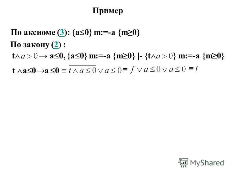 Пример t a 0, {a 0} m:=-a {m0} |- {t } m:=-а {m0} По закону (2) :2 t a 0 а 0 По аксиоме (3): {а 0} m:=-а {m0}3