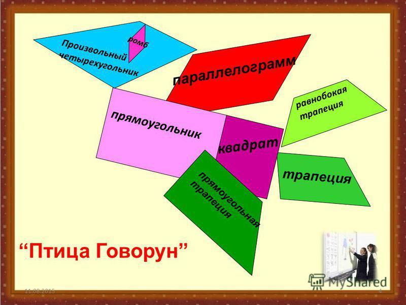 4 трапеция Произвольный четырехугольник параллелограмм прямоугольник ромб квадрат равнобокая трапеция прямоугольная трапеция Птица Говорун
