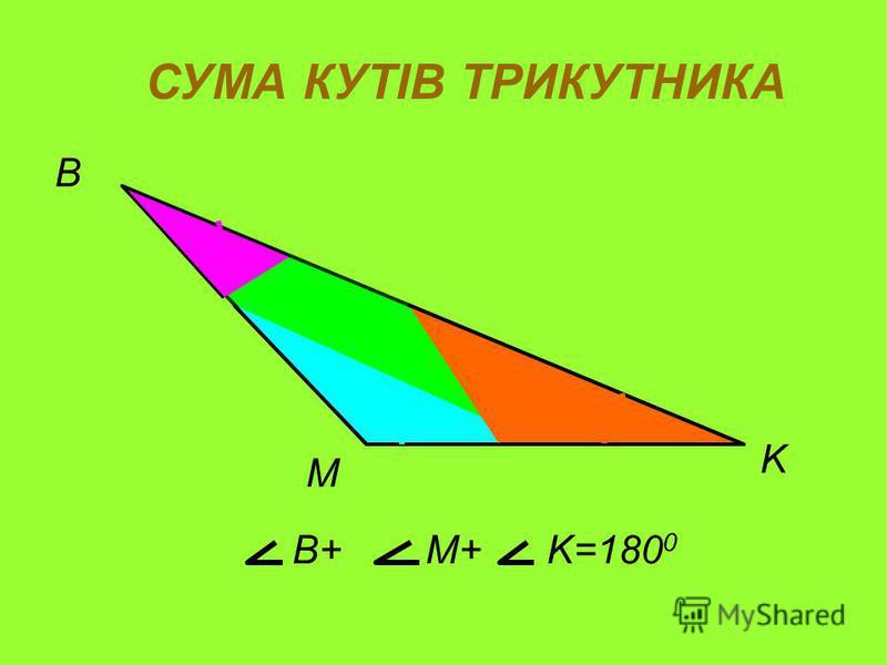 M B K СУМА КУТІВ ТРИКУТНИКА B+B+M+M+K=180 0