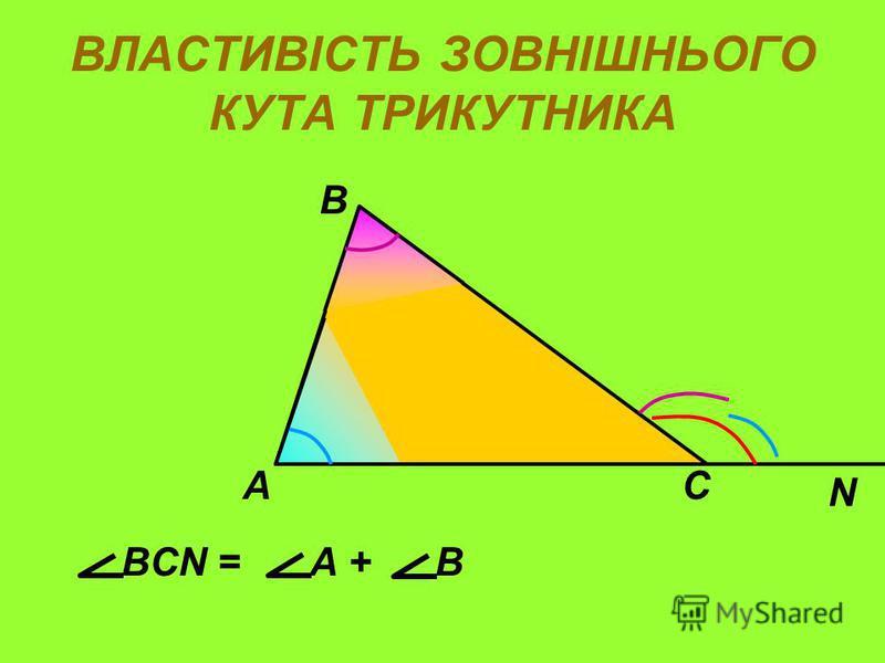 ВЛАСТИВІСТЬ ЗОВНІШНЬОГО КУТА ТРИКУТНИКА А В С N BCN = А + В