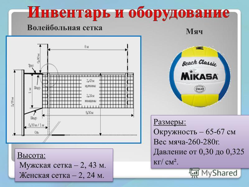 Размеры: Окружность – 65-67 см Вес мяча-260-280 г. Давление от 0,30 до 0,325 кг/ см². Размеры: Окружность – 65-67 см Вес мяча-260-280 г. Давление от 0,30 до 0,325 кг/ см². Высота: Мужская сетка – 2, 43 м. Женская сетка – 2, 24 м. Высота: Мужская сетк