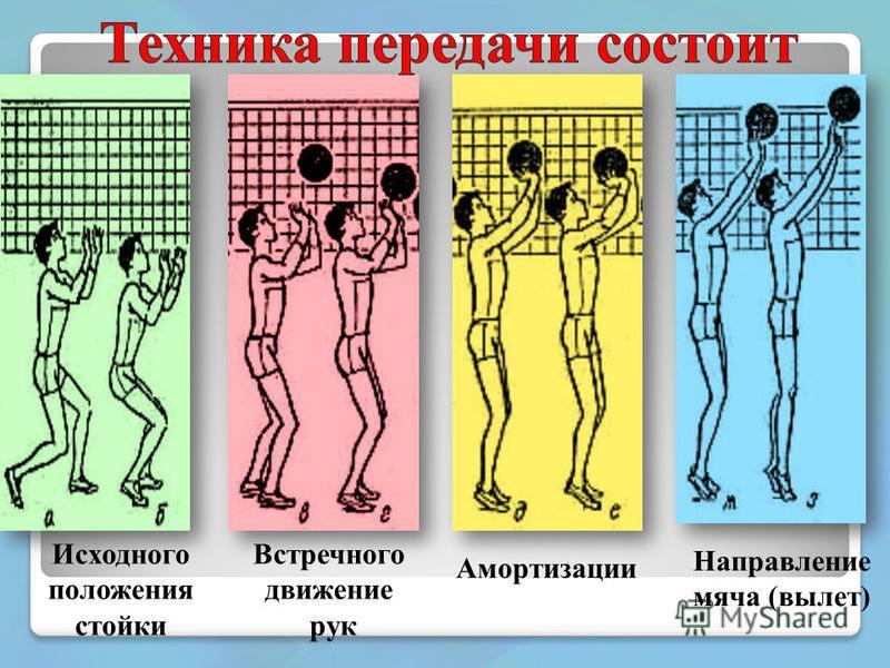 Исходного положения стойки Встречного движение рук Амортизации Направление мяча (вылет)