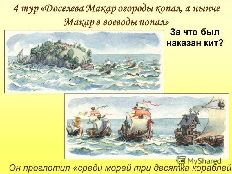 Он проглотил «среди морей три десятка кораблей» 4 тур «Доселева Макар огороды копал, а нынче Макар в воеводы попал» За что был наказан кит?
