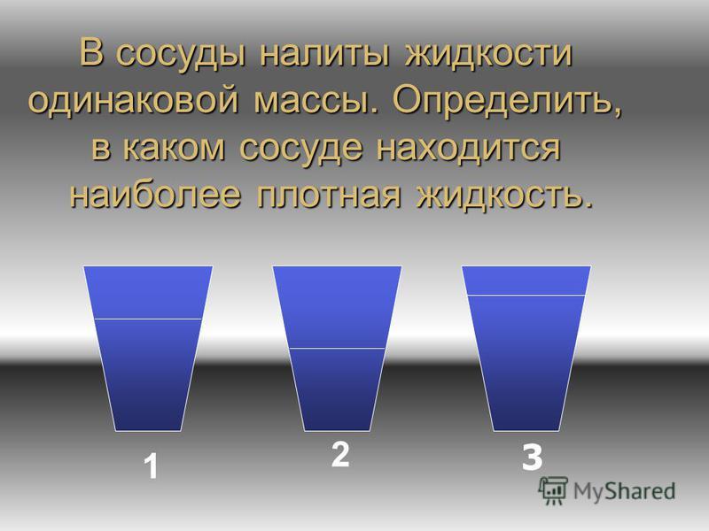 В сосуды налиты жидкости одинаковой массы. Определить, в каком сосуде находится наиболее плотная жидкость. 1 2 3