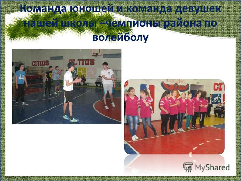 FokinaLida.75@mail.ru Команда юношей и команда девушек нашей школы –чемпионы района по волейболу