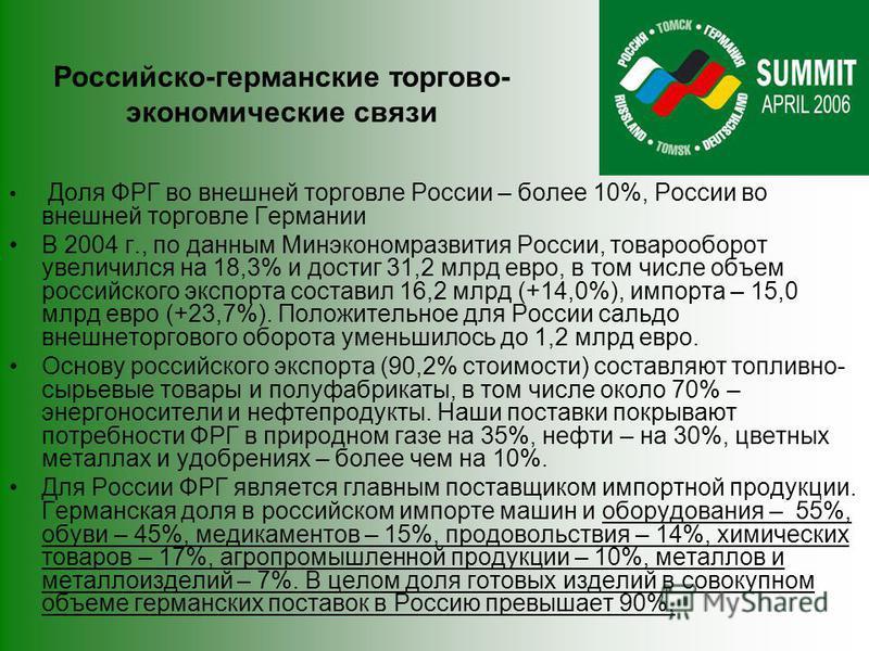 Российско-германские торгово- экономические связи Доля ФРГ во внешней торговле России – более 10%, России во внешней торговле Германии В 2004 г., по данным Минэкономразвития России, товарооборот увеличился на 18,3% и достиг 31,2 млрд евро, в том числ