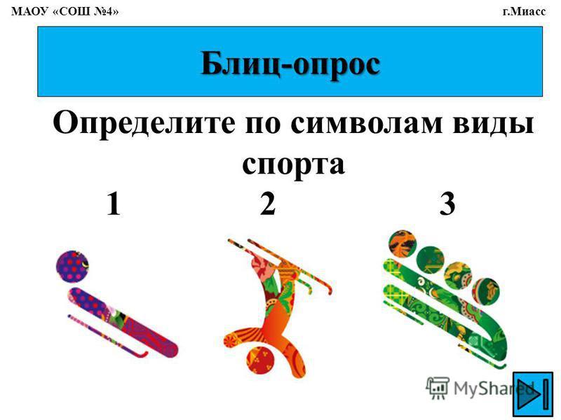 Блиц-опрос Определите по символам виды спорта 1 2 3 МАОУ «СОШ 4» г.Миасс