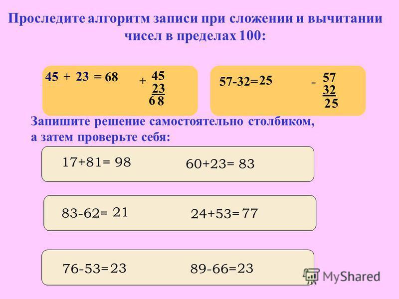 Выполняя предыдущее задание вы находили сумму или разность чисел в пределах 100. Сформулируйте самостоятельно алгоритм письменного приема сложения и вычитания чисел в пределах 100. Проверьте себя 1. Пишу десятки под десятками, а единицы под единицами