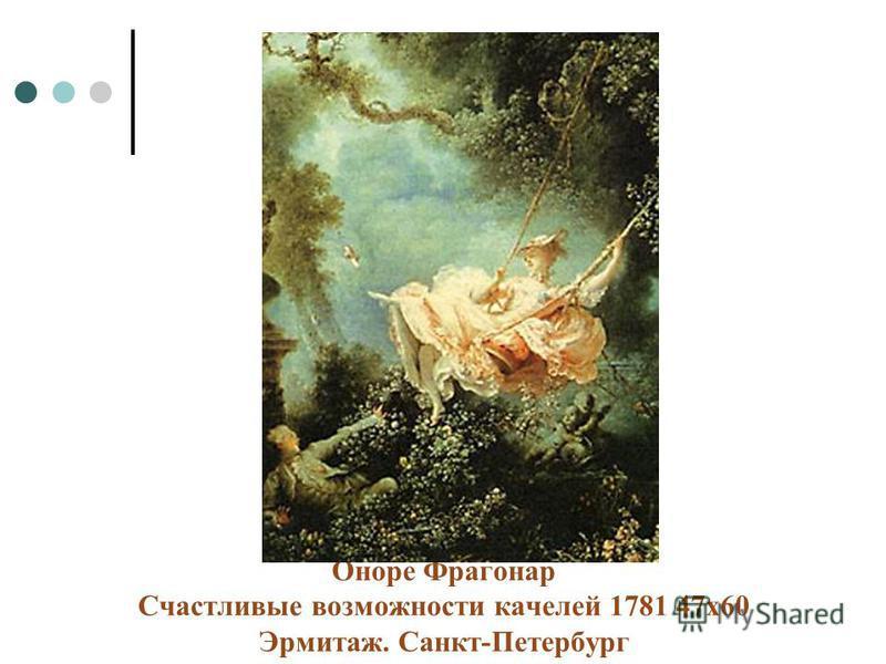 Оноре Фрагонар Счастливые возможности качелей 1781 47 х 60 Эрмитаж. Санкт-Петербург