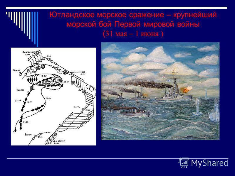Ютландское морское сражение – крупнейший морской бой Первой мировой войны ( 31 мая – 1 июня )