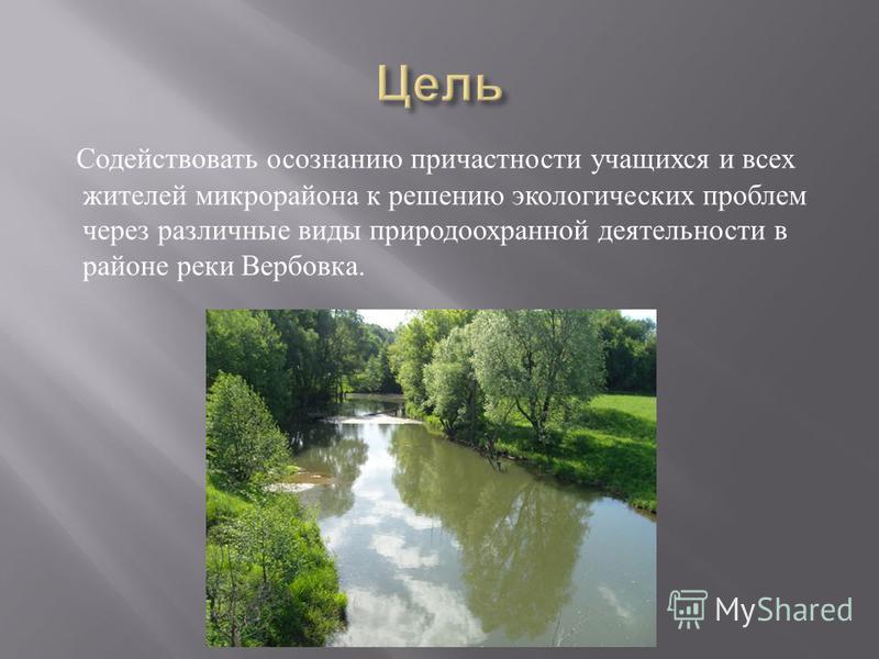 Содействовать осознанию причастности учащихся и всех жителей микрорайона к решению экологических проблем через различные виды природоохранной деятельности в районе реки Вербовка.