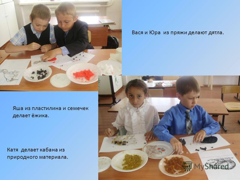 Вася и Юра из пряжи делают дятла. Яша из пластилина и семечек делает ёжика. Катя делает кабана из природного материала.