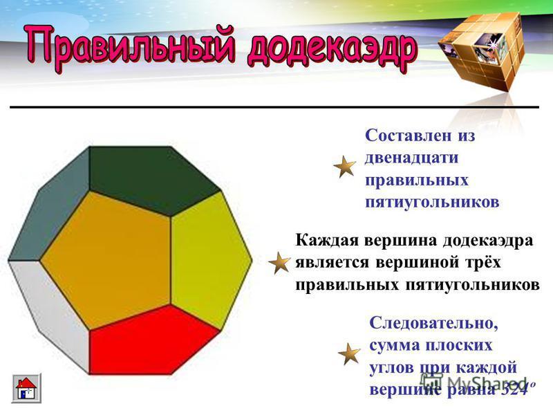 LOGO www.themegallery.com Составлен из восьми равносторонних треугольников Каждая вершина октаэдра является вершиной четырёх треугольников Следовательно, сумма плоских углов при каждой вершине 240º