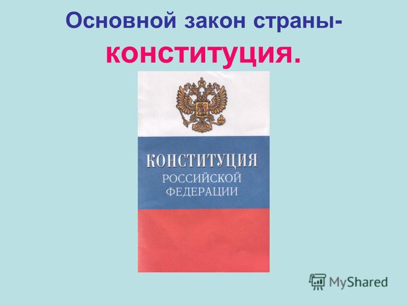 Основной закон страны- конституция.