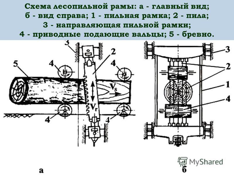Схема лесопильной рамы: а - главный вид; б - вид справа; 1 - пильная рамка; 2 - пила; 3 - направляющая пильной рамки; 4 - приводные подающие вальцы; 5 - бревно.