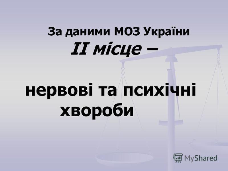 За даними МОЗ України ІІ місце – нервові та психічні хвороби