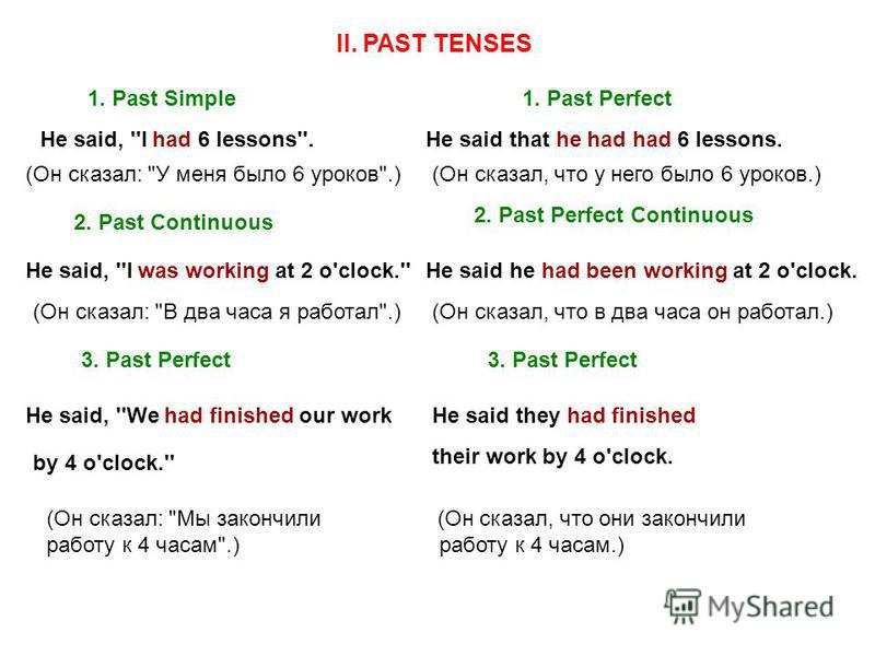II. PAST TENSES 1. Past Simple1. Past Perfect He said, ''I had 6 lessons''.He said that he had had 6 lessons. (Он сказал: