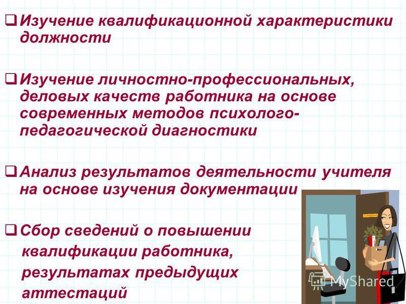 Изучение квалификационной характеристики должности Изучение личностно-профессиональных, деловых качеств работника на основе современных методов психолого- педагогической диагностики Анализ результатов деятельности учителя на основе изучения документа