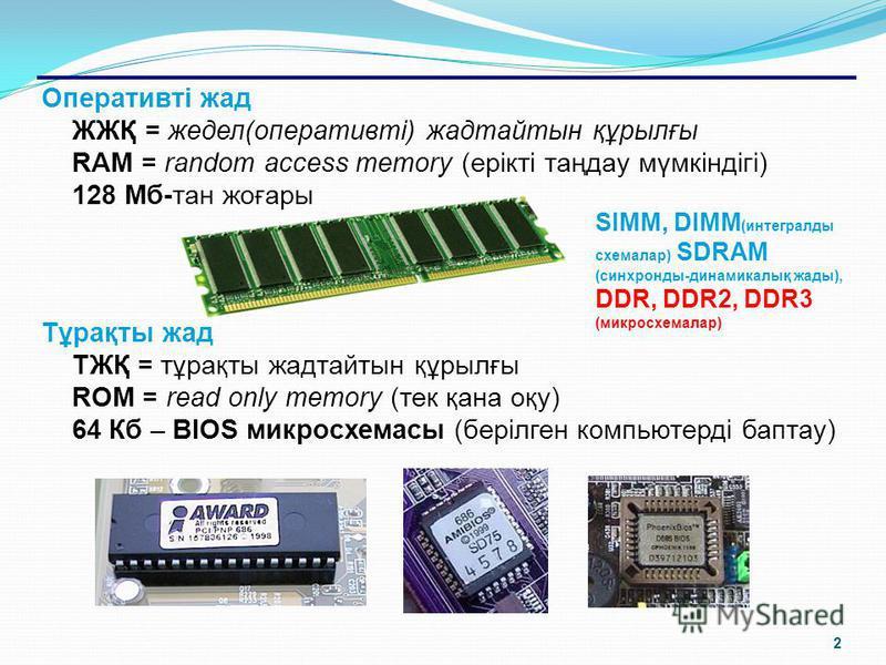 1 ішкісыртқы оперативтітұрақты винчестер дискета лазерлік дисклер (CD, DVD) стримерлер Флеш-дискттер Компьютер жадысы