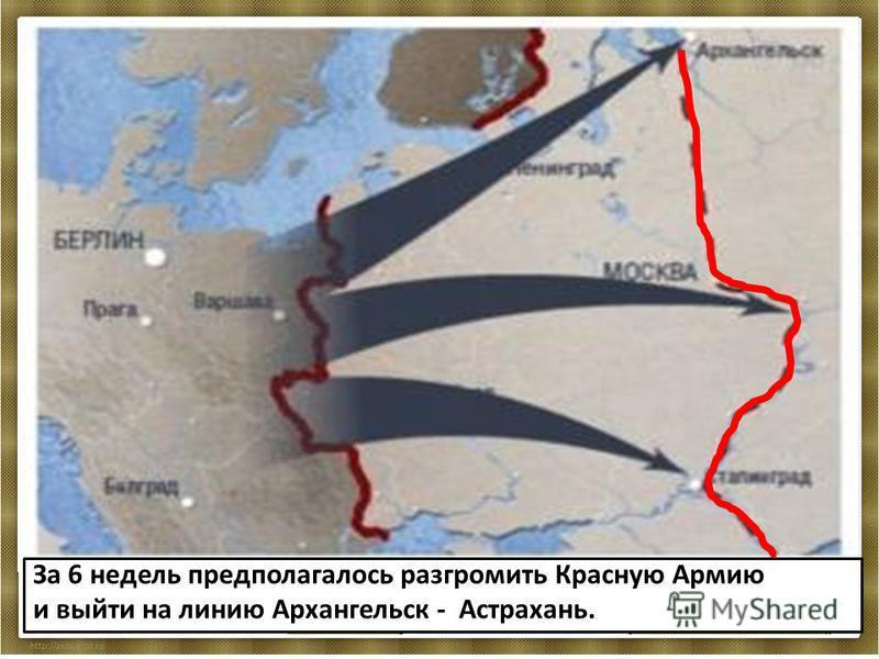 План «Барбаросса» предусматривал ведение «молниеносной войны» против СССР на трех основных направлениях - на Ленинград (группа армии «Север»), Москву (группа армии «Центр» и Киев (группа армии «Юг». север центр юг За 6 недель предполагалось разгромит