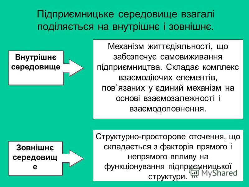 Підприємницьке середовище взагалі поділяється на внутрішнє і зовнішнє. Внутрішнє середовище Механізм життєдіяльності, що забезпечує самовиживання підприємництва. Складає комплекс взаємодіючих елементів, пов`язаних у єдиний механізм на основі взаємоза