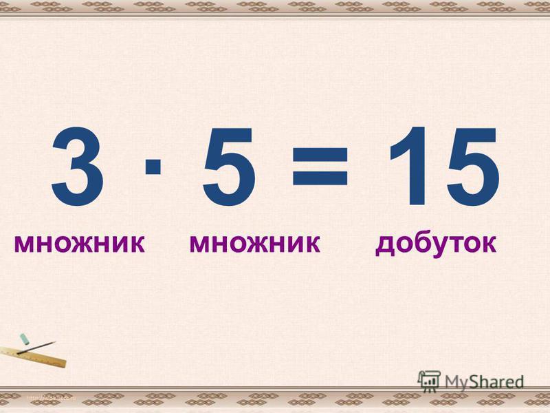 3 · 5 = 15 http://aida.ucoz.ru множник добуток
