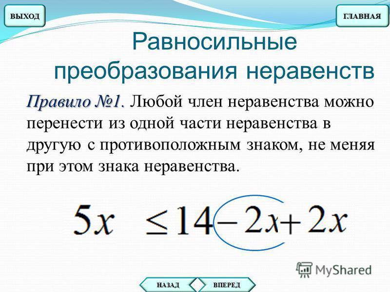 f(x)<g(x) r(x)<s(x) равносильными Два неравенства f(x)<g(x) и r(x)<s(x) называют равносильными, если они имеют равные решения. ГЛАВНАЯ ВПЕРЕД НАЗАД ВЫХОД