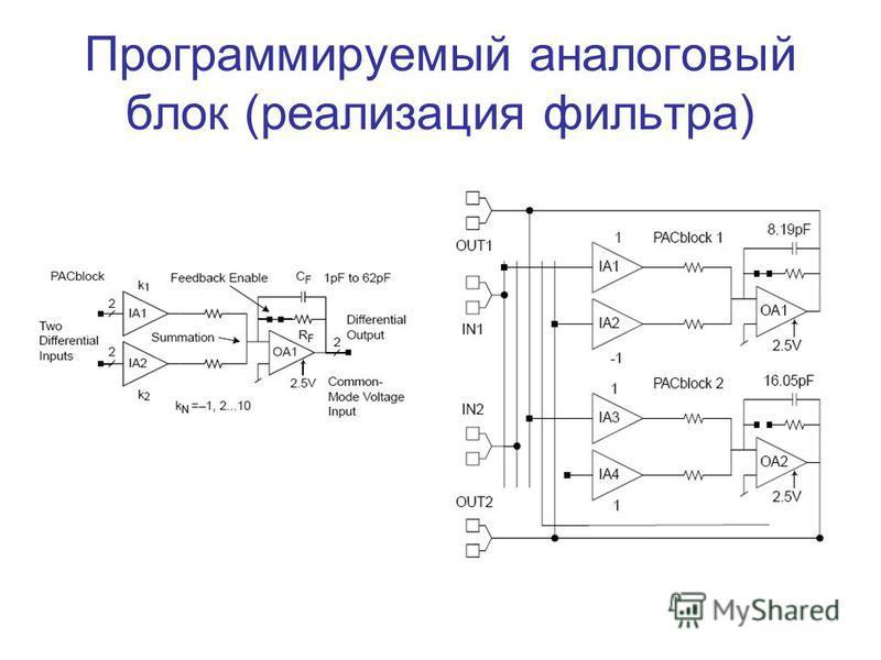 Программируемый аналоговый блок (реализация фильтра)