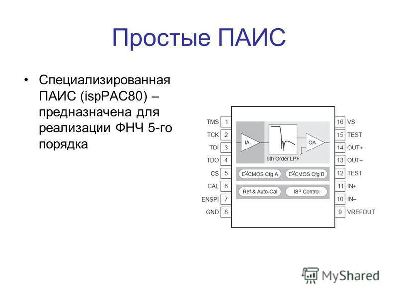 Простые ПАИС Специализированная ПАИС (ispPAC80) – предназначена для реализации ФНЧ 5-го порядка