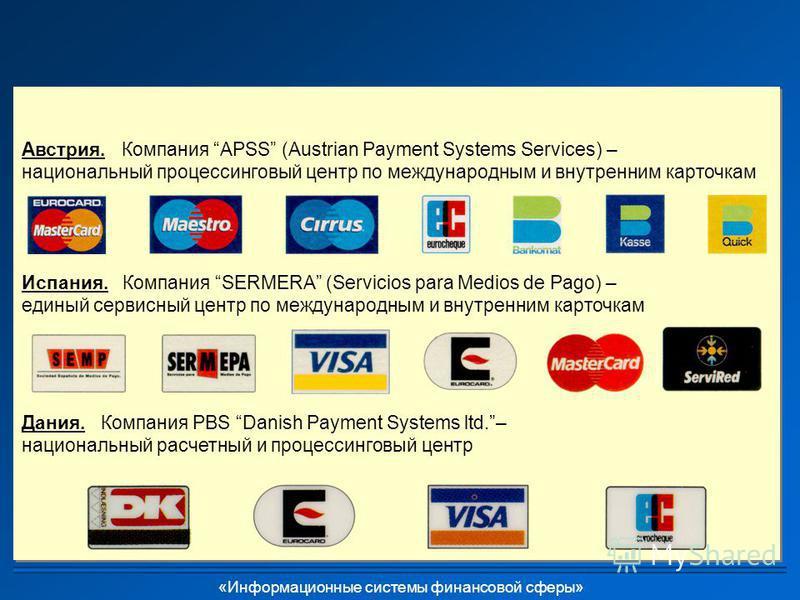 «Информационные системы финансовой сферы» Австрия. Компания APSS (Austrian Payment Systems Services) – национальный процессинговый центр по международным и внутренним карточкам Испания. Компания SERMERA (Servicios para Medios de Pago) – единый сервис