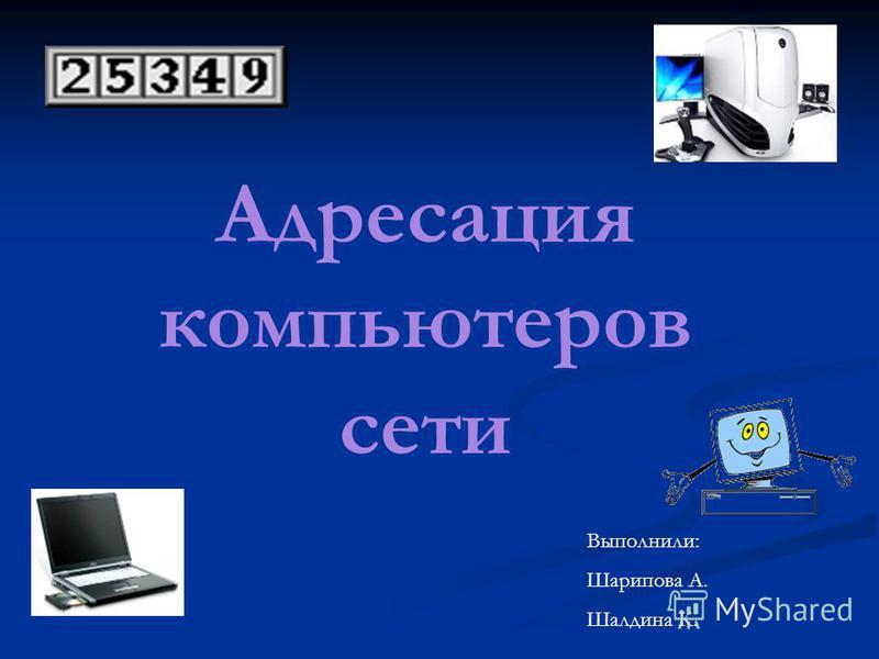 Адресация компьютеров сети Выполнили: Шарипова А. Шалдина К.