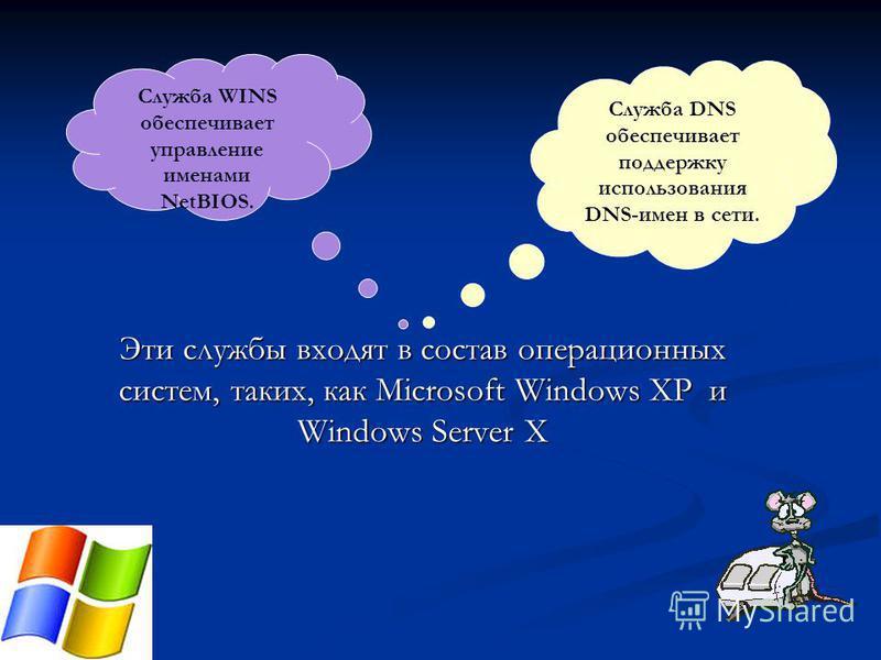 Эти службы входят в состав операционных систем, таких, как Microsoft Windows XP и Windows Server X Служба DNS обеспечивает поддержку использования DNS-имен в сети. Служба WINS обеспечивает управление именами NetBIOS.