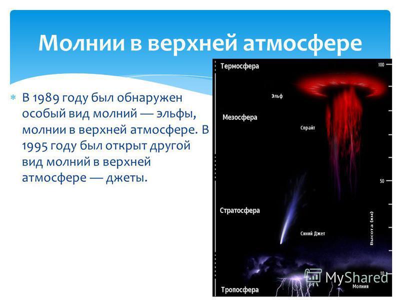 В 1989 году был обнаружен особый вид молний эльфы, молнии в верхней атмосфере. В 1995 году был открыт другой вид молний в верхней атмосфере джеты. Молнии в верхней атмосфере
