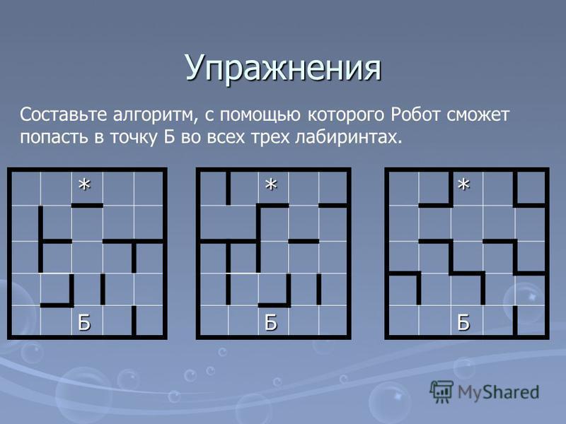 Упражнения * Б*Б Составьте алгоритм, с помощью которого Робот сможет попасть в точку Б во всех трех лабиринтах.*Б