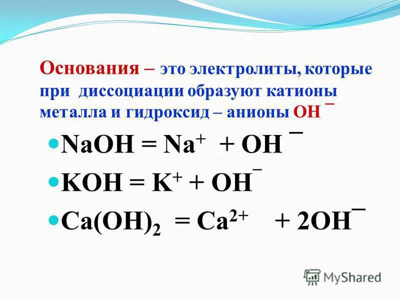 Основания – это электролиты, которые при диссоциации образуют катионы металла и гидроксид – анионы ОН ¯ NaOH = Na + + OH ¯ KOH = K + + OH ¯ Ca(OH) 2 = Ca 2+ + 2OH¯