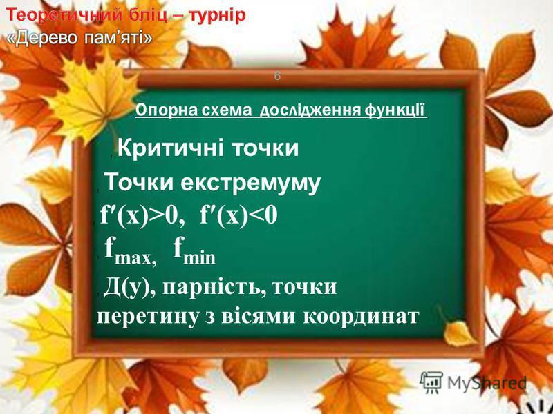 6, Точки екстремуму, Критичні точки, f(x)>0, f(x)<0, f max, f min, Д(у), парність, точки перетину з вісями координат Опорна схема дослідження функції
