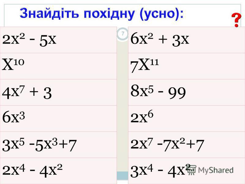 2х 2 - 5х Х 10 4х 7 + 3 6х 3 3х 5 -5х 3 +7 2х 4 - 4х 2 6х 2 + 3х 7Х 11 8х 5 - 99 2х 6 2х 7 -7х 2 +7 3х 4 - 4х 2 7