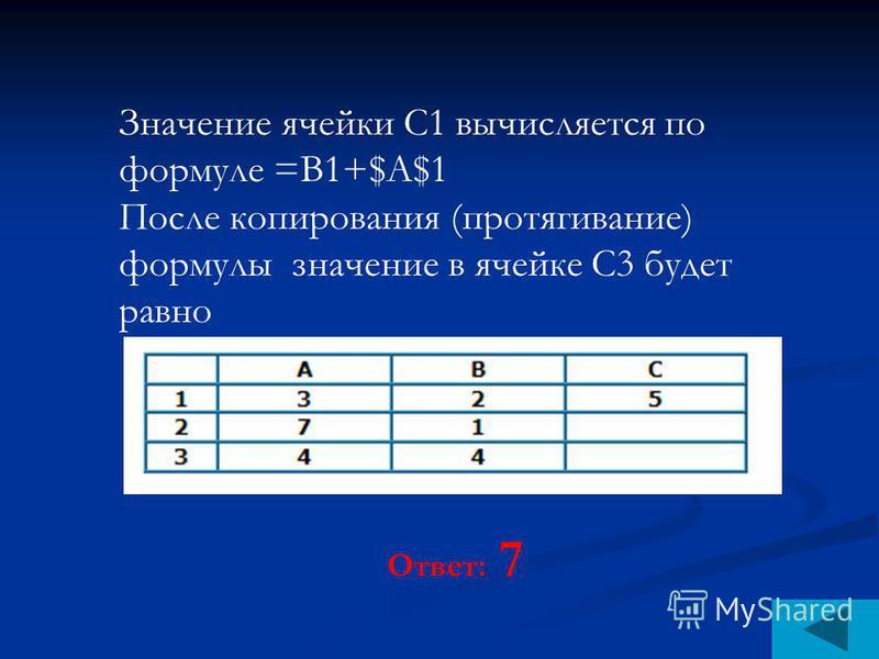Значение ячейки С1 вычисляется по формуле =В1+$A$1 После копирования (протягивание) формулы значение в ячейке С3 будет равно Ответ: 7
