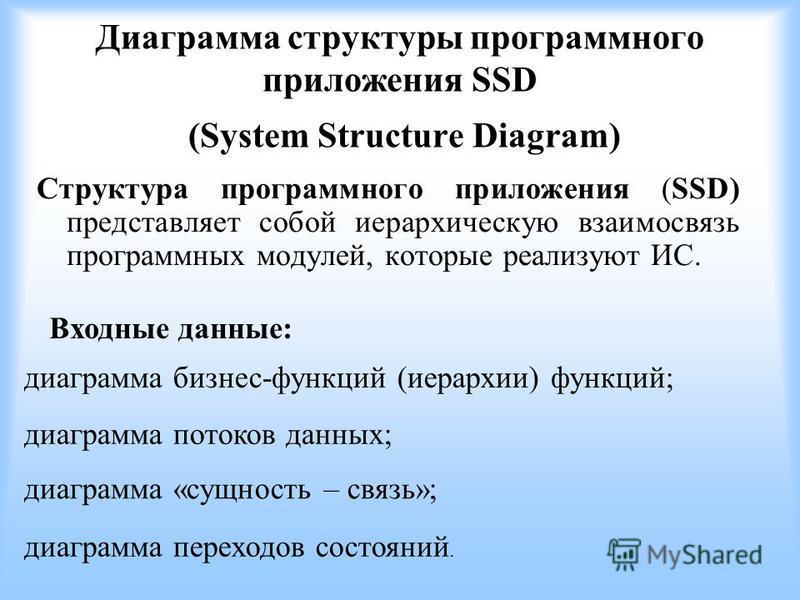 Диаграмма структуры программного приложения SSD (System Structure Diagram) Структура программного приложения (SSD) представляет собой иерархическую взаимосвязь программных модулей, которые реализуют ИС. Входные данные: диаграмма «сущность – связь»; д