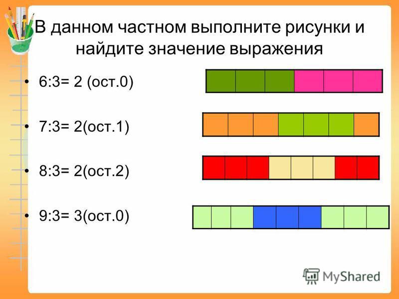 В данном частном выполните рисунки и найдите значение выражения 6:3= 2 (ост.0) 7:3= 2(ост.1) 8:3= 2(ост.2) 9:3= 3(ост.0)