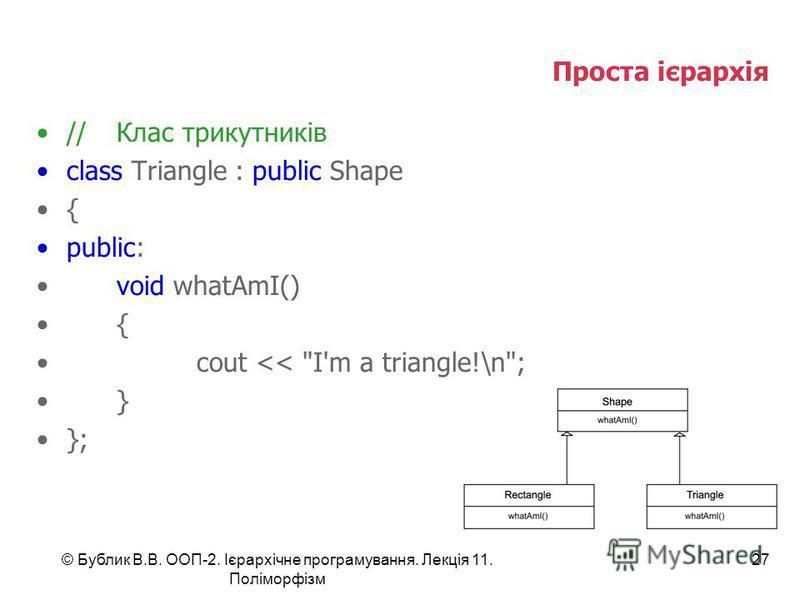 © Бублик В.В. ООП-2. Ієрархічне програмування. Лекція 11. Поліморфізм 27 Проста ієрархія //Клас трикутників class Triangle : public Shape { public: void whatAmI() { cout << I'm a triangle!\n; } };