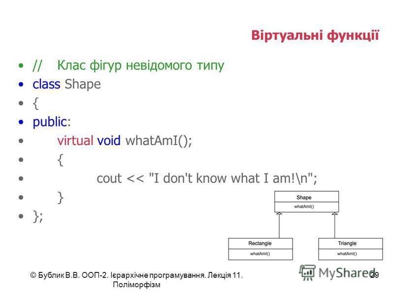 © Бублик В.В. ООП-2. Ієрархічне програмування. Лекція 11. Поліморфізм 29 Віртуальні функції //Клас фігур невідомого типу class Shape { public: virtual void whatAmI(); { cout << I don't know what I am!\n; } };