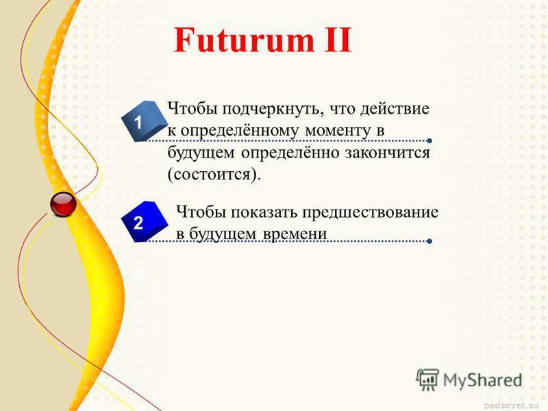 Futurum II 4 Чтобы подчеркнуть, что действие к определённому моменту в будущем определённо закончится (состоится). 1 2 Чтобы показать предшествование в будущем времени