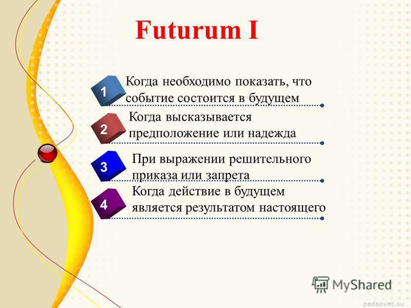 Futurum I 4 Когда необходимо показать, что событие состоится в будущем 1 2 3 Когда высказывается предположение или надежда При выражении решительного приказа или запрета Когда действие в будущем является результатом настоящего