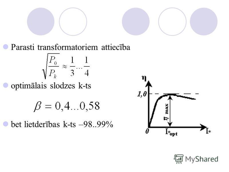Parasti transformatoriem attiecība optimālais slodzes k-ts bet lietderības k-ts –98..99%