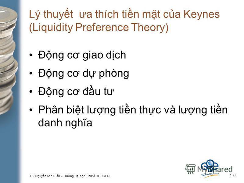 TS. Nguyn Anh Tun – Trưng Đi hc Kinh t ĐHQGHN. 1-6 Lý thuyt ưa thích tin mt ca Keynes (Liquidity Preference Theory) Đng cơ giao dch Đng cơ d phòng Đng cơ đu tư Phân bit lưng tin thc và lưng tin danh nghĩa