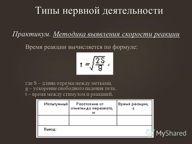 Практикум. Методика выявления скорости реакции Время реакции вычисляется по формуле: где S – длина отрезка между метками, g – ускорение свободного падения тела, t – время между стимулом и реакцией.