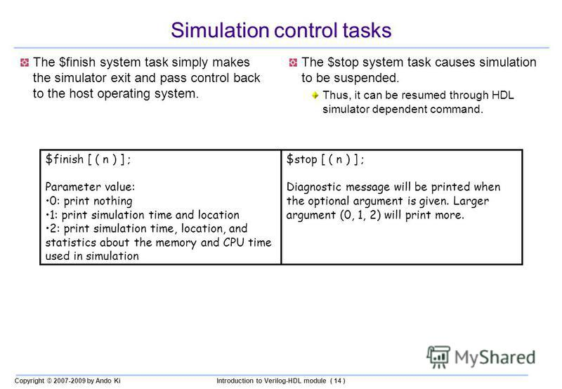 Copyright © 2007-2009 by Ando KiIntroduction to Verilog-HDL module ( 14 ) Simulation control tasks The $finish system task simply makes the simulator exit and pass control back to the host operating system. The $stop system task causes simulation to