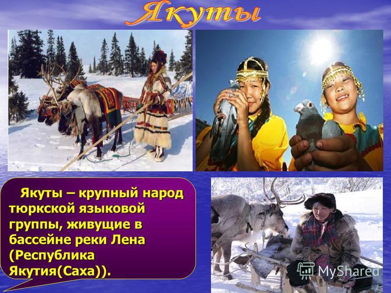Якуты – крупный народ тюркской языковой группы, живущие в бассейне реки Лена (Республика Якутия(Саха)). Якуты – крупный народ тюркской языковой группы, живущие в бассейне реки Лена (Республика Якутия(Саха)).